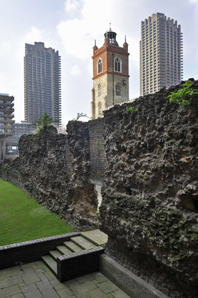 The Old London Wall and St Giles-without-Cripplegate;