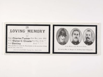 Card issued in Loving Memory of the three Policemen who were shot at Cutler Street, Houndsditch on December 16th 1910