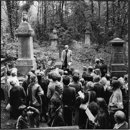 A tour group visiting Highgate Cemetery; 1982