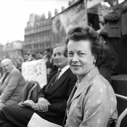 Barbara Castle at an anti-bomb demonstration; 1957