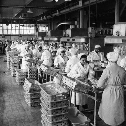 Workers on the factory line at Walls Sausage Factory; 1959