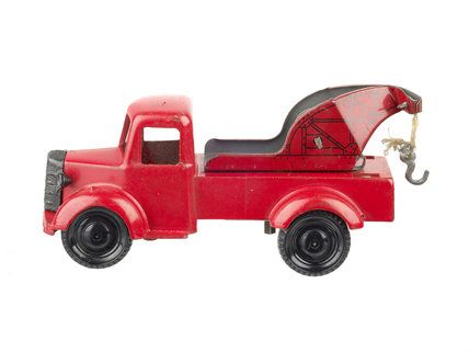 Model metal pick up truck painted red