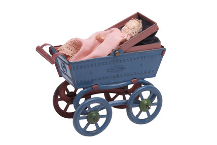 Painted tinplate miniature doll's pram; 1905-1912