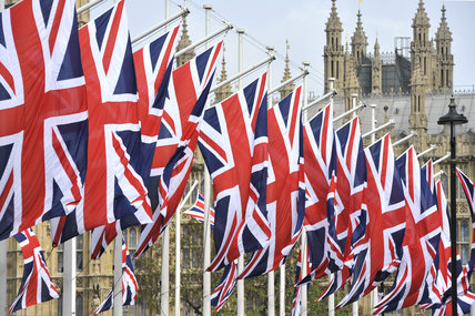 Union Jacks in Parliament Square; 2011