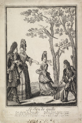 A boy and girl playing skittles; 1694