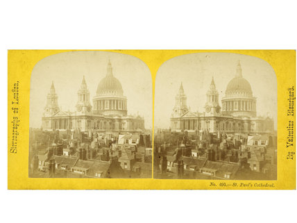 Stereo card view of St. Paul's Cathedral and rooftops; 1860
