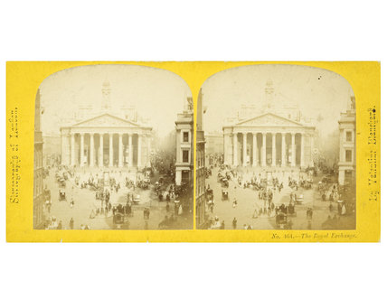 Stereo card view of The Royal Exchange; c.1860