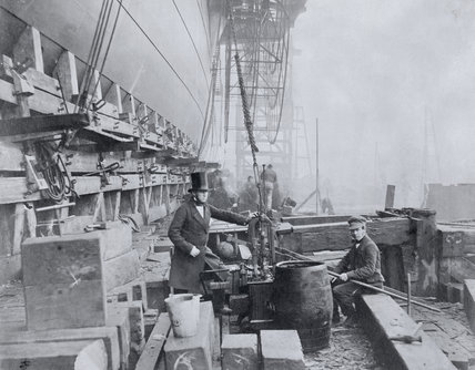 Richard Tangye alongside the Great Eastern, January 1858