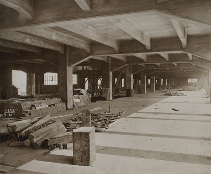 Interior of a warehouse under construction: 1925