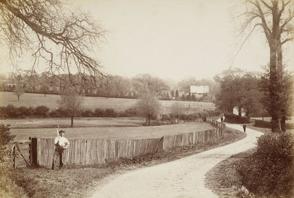 A man standing by a field on Blind Lane, c.1870