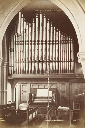 The organ inside Christ Church in Southgate; c1870