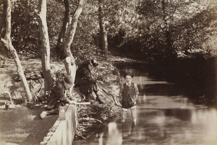 Children playing in Blind Lane Brook; c.1870