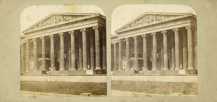 Stereo card view of the British Museum exterior; c.1855