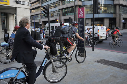 Cyclists in the city of London on a superhighway; 2011