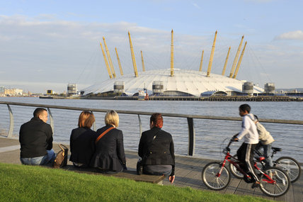 The Millennium Dome from the Isle of Dogs; 2011