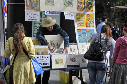 Print stall on Portabello road Market; 2010