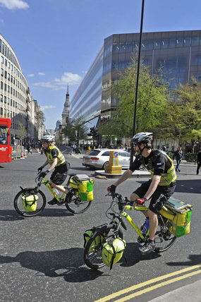 The cycle ambulance crew in Cheapside; 2010