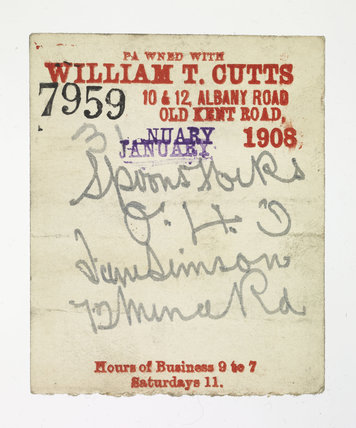 Pawnbroker's ticket issued by William T Cutts; 1908