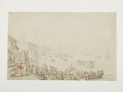 Ship launch at Woolwich; 1822