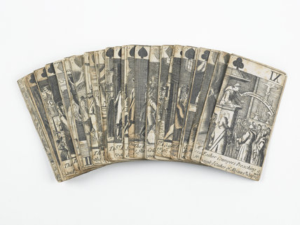 A pack of post medieval playing cards; c 1680