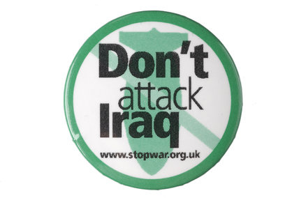 Don't attack Iraq badge; 2003