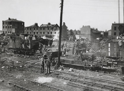 V1 Rocket damage Royal Victoria Dock: 1944