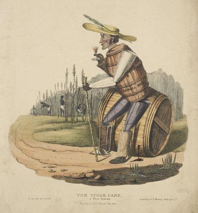 Caricature of Tom Sugar Cane a British sugar planter; 1830