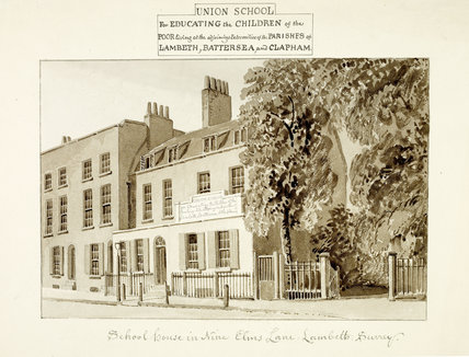 School House in Nine Elms Lane; c 1825