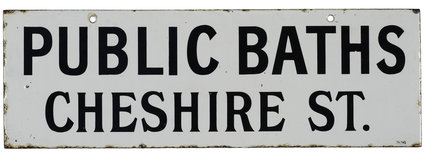 Public baths sign; 1900