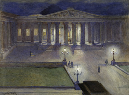 The British Museum by night; c 1890