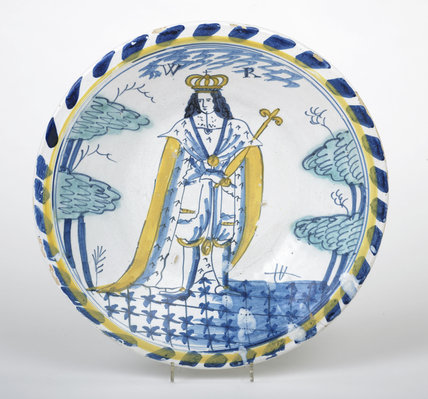 Tin-glazed earthenware charger: c.1700