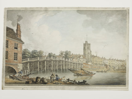 View of Fulham Bridge and Putney Church; 1792