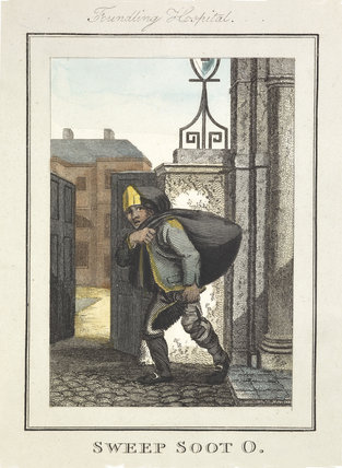 Image of a chimney sweep outside the Foundling Hospital; 1804