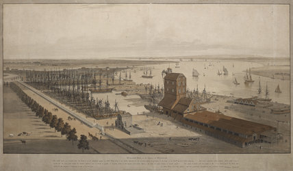 A View of the London Dock from the west; 1808