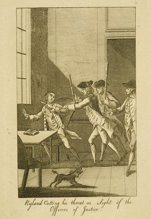 Ryland cutting his throat on Sight of the Officers of Justice: 1783