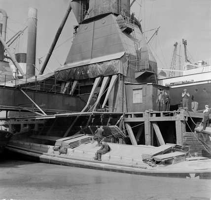 The Milwall Docks in East London; 1953