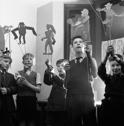 Puppet show at the Mary Ward Settlement Boys Club: 1955