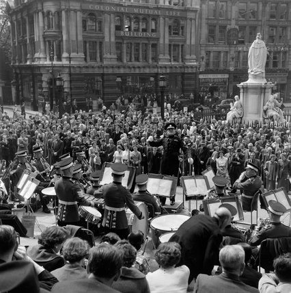 The Band of the Coldstream Guards on the steps of St Paul's Cathedral; 1953
