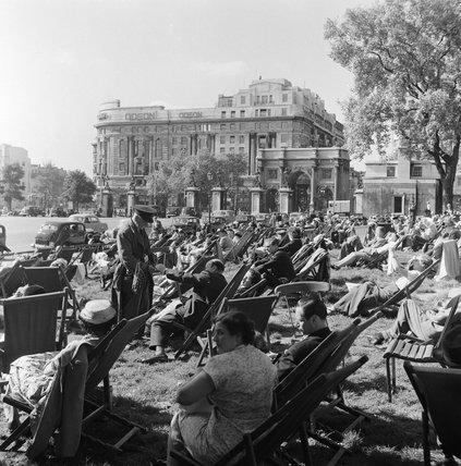 Sunbathers in Hyde Park; 1956