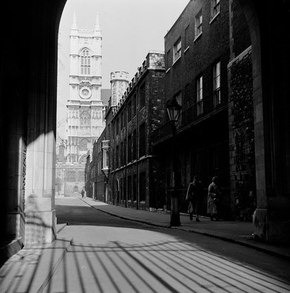 Westminster Abbey taken from Deans Yard; c.1955