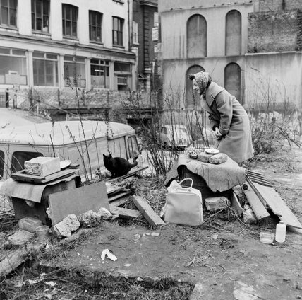 Feeding stray cats at a delerict bomb site; 1961