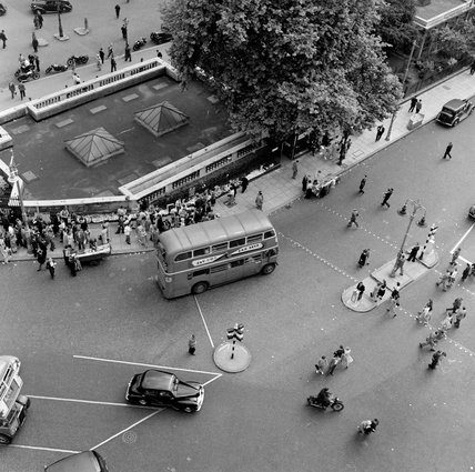 Aerial view of a London street; 1951