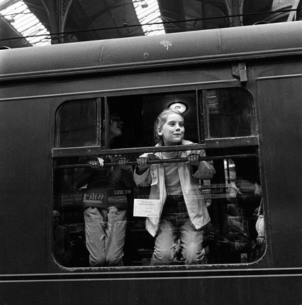 Children leaving Victoria train station for summer camp; 1965