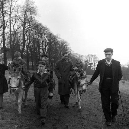Donkey rides on Hampstead Heath; 1955