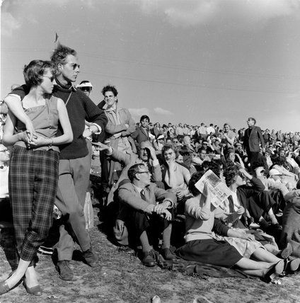 Crowds watching the motor racing at Crystal Palace; 1954