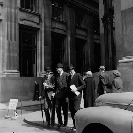 City workers outside Euston station in May 1952