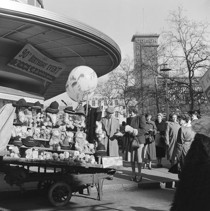 Souvenir stall in Leicester Square; c1955