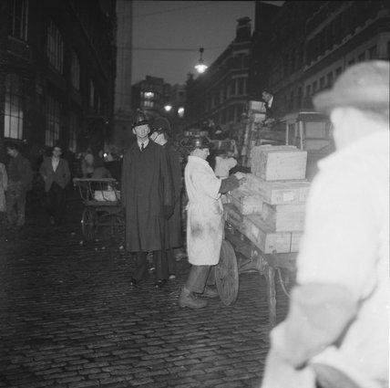Porters and policemen at Billingsgate Market: 1958