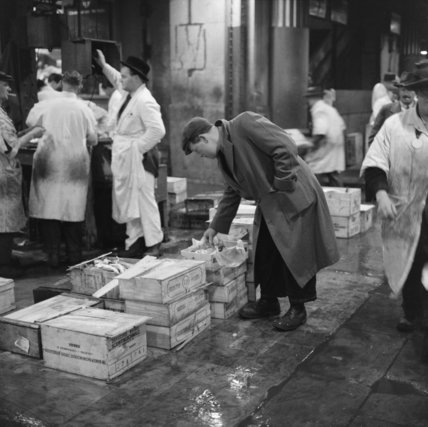 Cutomer at Billingsgate Market: 1958