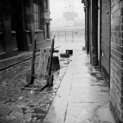 Discarded trolley near Billingsgate Market: 1958
